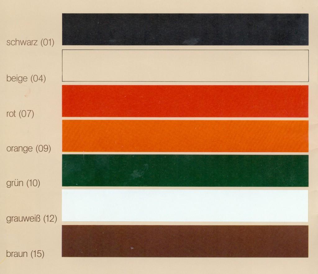 Farbpalette für Bürozubehör 1984