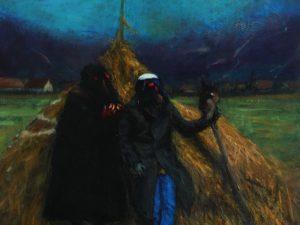 Szabolcs Veres: Transylvania Landscape with 2 Figures (2016)