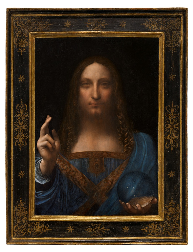 Leonardo da Vinci (1452-1519), Salvator Mundi, painted circa 1500. Oil on walnut panel. Panel dimensions: 25 13/16 x 17 15/16 in (65.5 x 45.1 cm)