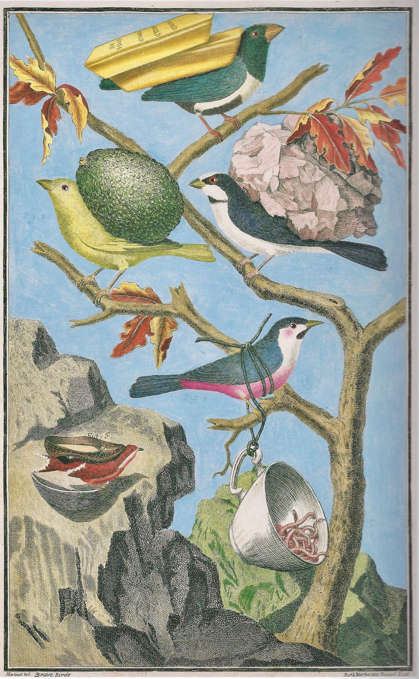 Ruth Marten Brave Birds (2011), Watercolor and Gouache on 18th Century Print, 33,6 x 20,7 cm